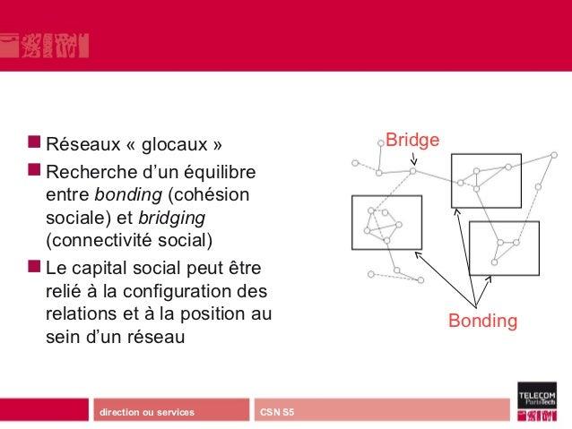  Réseaux    « glocaux »                  Bridge Recherche d'un équilibre  entre bonding(cohésion  sociale) et bridging...