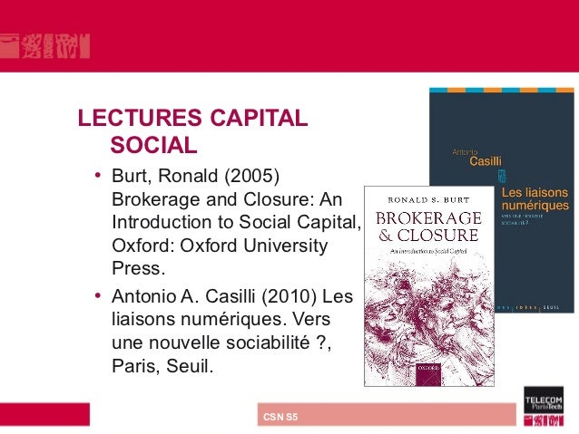 LECTURES CAPITAL  SOCIAL • Burt, Ronald (2005)   Brokerage and Closure: An   Introduction to Social Capital,   Oxford: Oxf...