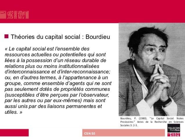    Théories du capital social : Bourdieu«Lecapitalsocialestl'ensembledesressourcesactuellesoupotentiellesquis...