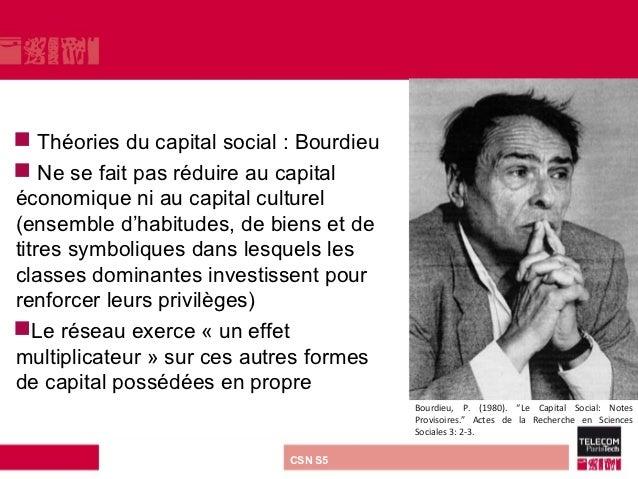    Théories du capital social : Bourdieu Ne se fait pas réduire au capitaléconomique ni au capital culturel(ensemble d'h...