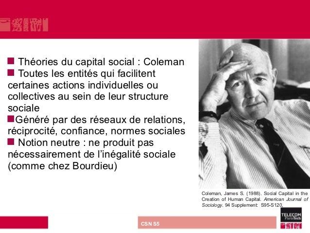  Théories du capital social : Coleman Toutes les entités qui facilitentcertaines actions individuelles oucollectives au ...