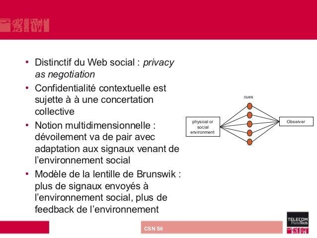 • Distinctif du Web social : privacy  as negotiation• Confidentialité contextuelle est  sujette à à une concertation      ...