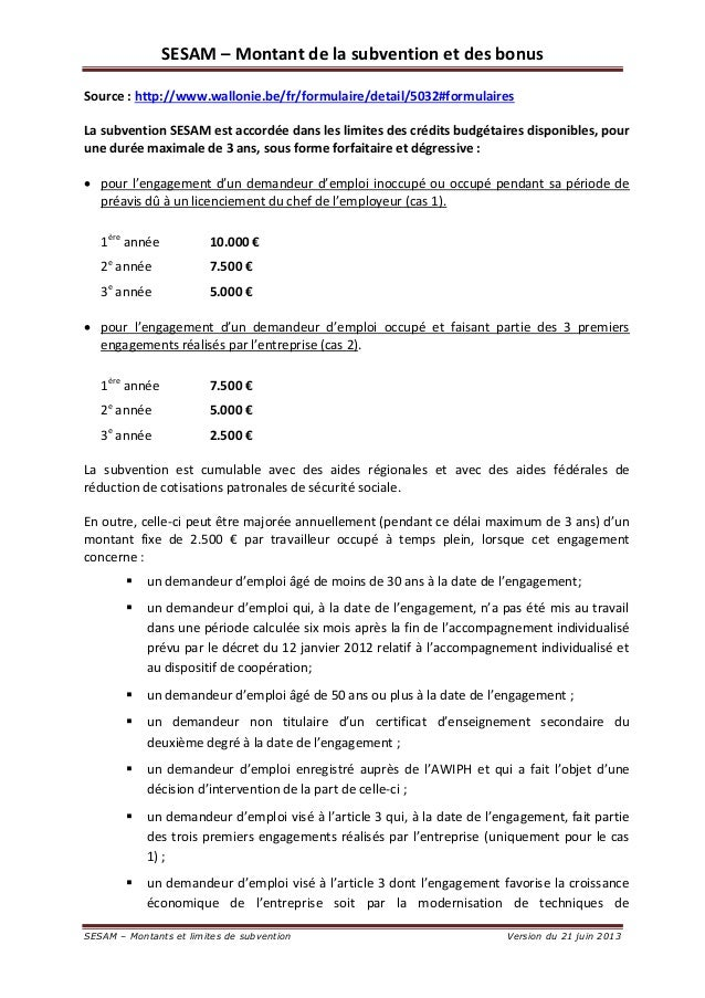 SESAM – Montant de la subvention et des bonus  SESAM – Montants et limites de subvention Version du 21 juin 2013  Source :...
