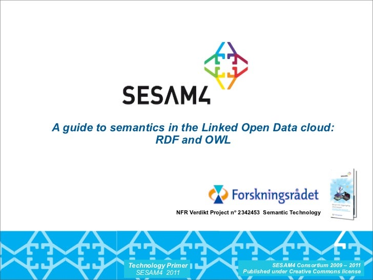 A guide to semantics in the Linked Open Data cloud:                  RDF and OWL                          NFR Verdikt Proj...