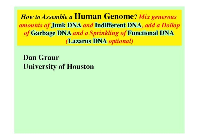 How to Assemble a Human Genome? Mix generous amounts of Junk DNA and Indifferent DNA, add a Dollop of Garbage DNA and a Sp...
