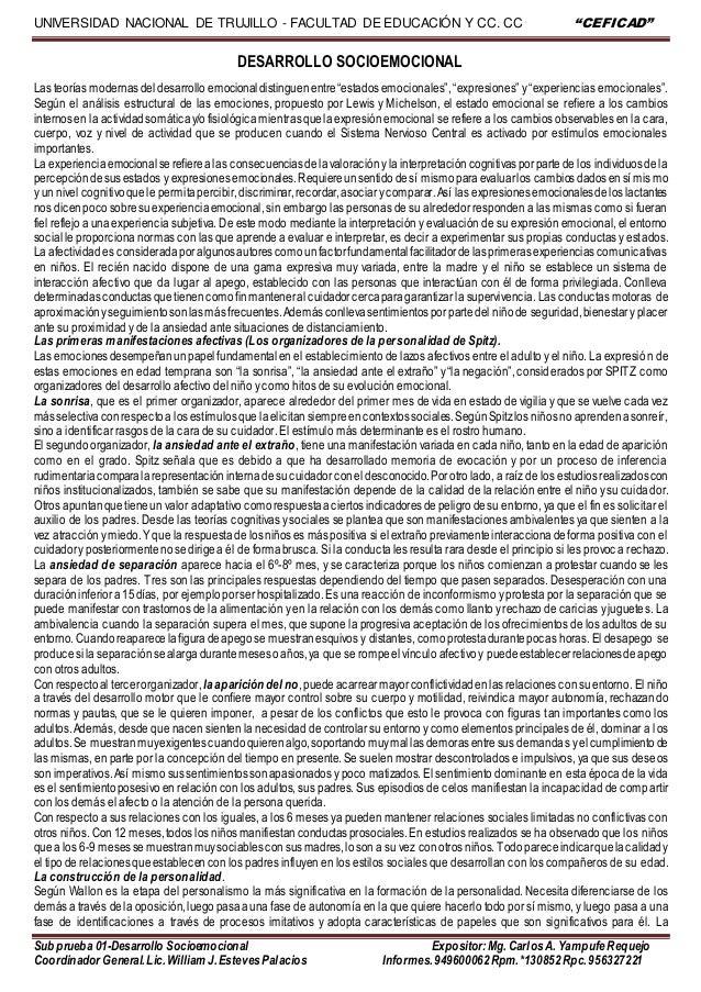 """UNIVERSIDAD NACIONAL DE TRUJILLO - FACULTAD DE EDUCACIÓN Y CC. CC """"CEFICAD"""" Sub prueba 01-Desarrollo Socioemocional Exposi..."""
