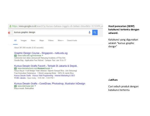 """Hasil pencarian (SERP) katakunci tertentu dengan adword. Katakunci yang digunakan adalah """"kursus graphic design"""" Latihan. ..."""