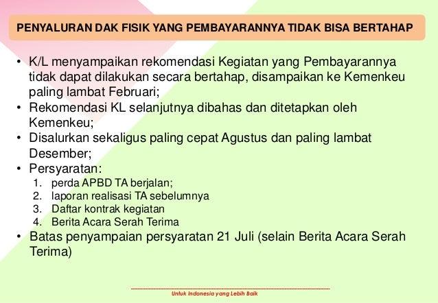 Untuk Indonesia yang Lebih Baik PENYALURAN DAK FISIK YANG PEMBAYARANNYA TIDAK BISA BERTAHAP • K/L menyampaikan rekomendasi...