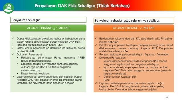 14 Penyaluran DAK Fisik Sekaligus (Tidak Bertahap)  Berdasarkan rekomendasi dari K/L yang diterima DJPK paling lambat Feb...