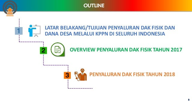 LATAR BELAKANG/TUJUAN PENYALURAN DAK FISIK DAN DANA DESA MELALUI KPPN DI SELURUH INDONESIA 2 OUTLINE OVERVIEW PENYALURAN D...