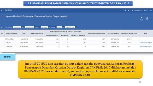 LAP. REALISASI PENYERAPAN DANA DAN CAPAIAN OUTPUT KEGIATAN DAK FISIK - 2017 Input SP2D BUD dan capaian output dalam rangka...