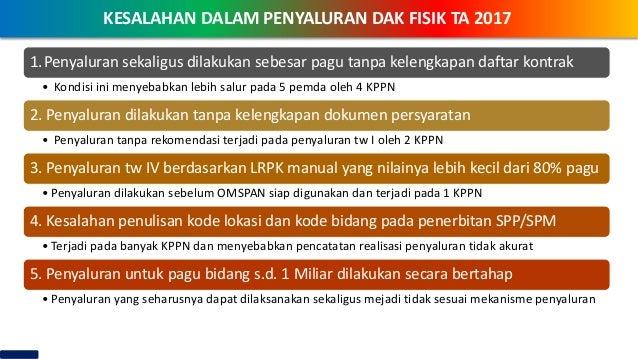 KEBIJAKAN DAK FISIK TAHUN 2018KESALAHAN DALAM PENYALURAN DAK FISIK TA 2017 1.Penyaluran sekaligus dilakukan sebesar pagu t...