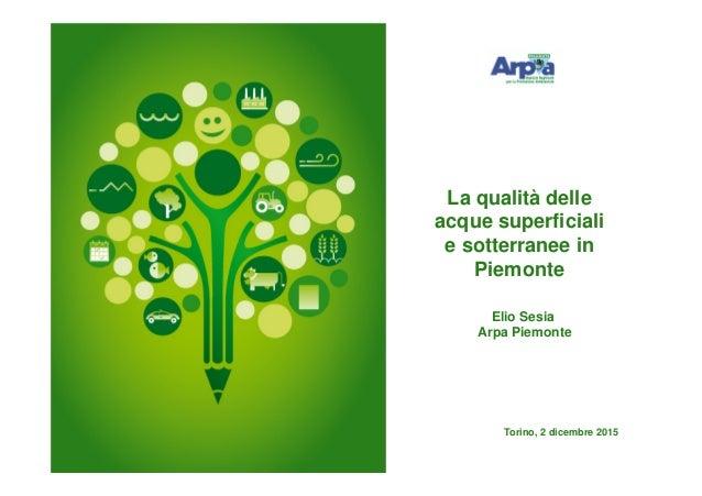 Elio Sesia Arpa Piemonte Torino, 2 dicembre 2015 La qualità delle acque superficiali e sotterranee in Piemonte