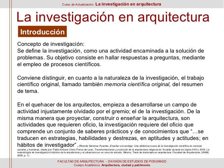 Sesi n 1 y 2 l a investigaci n en arquitectura for Tesis de arquitectura ejemplos