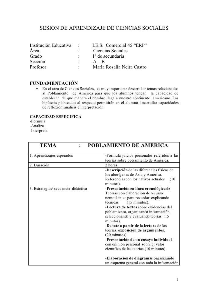 "SESION DE APRENDIZAJE DE CIENCIAS SOCIALES   Institución Educativa       :          I.E.S. Comercial 45 ""ERP"" Área        ..."