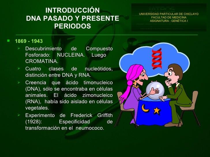 INTRODUCCIÓN DNA PASADO Y PRESENTE PERIODOS UNIVERSIDAD PARTICULAR DE CHICLAYO FACULTAD DE MEDICINA ASIGNATURA : GENÉTICA ...
