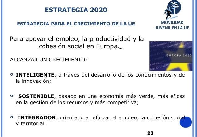 23Para apoyar el empleo, la productividad y lacohesión social en Europa.ESTRATEGIA 2020ESTRATEGIA PARA EL CRECIMIENTO DE L...