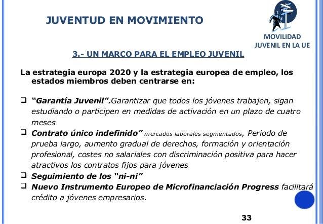 333.- UN MARCO PARA EL EMPLEO JUVENILLa estrategia europa 2020 y la estrategia europea de empleo, losestados miembros debe...