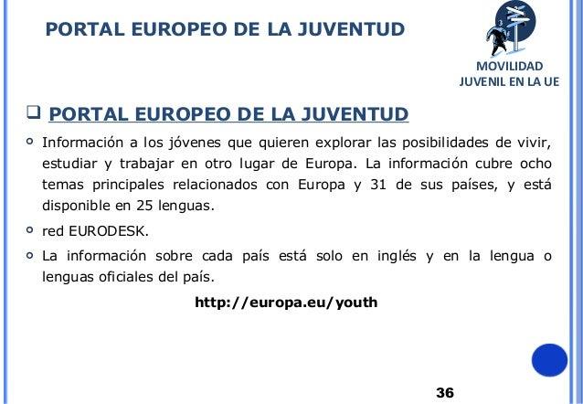 36PORTAL EUROPEO DE LA JUVENTUD PORTAL EUROPEO DE LA JUVENTUD Información a los jóvenes que quieren explorar las posibil...