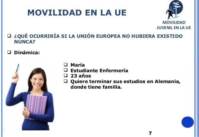 7 ¿QUÉ OCURRIRÍA SI LA UNIÓN EUROPEA NO HUBIERA EXISTIDONUNCA? Dinámica: María Estudiante Enfermería 23 años Quiere ...