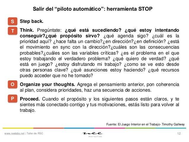 """Salir del """"piloto automático"""": herramienta STOP S  Step back.  T  Think. Pregúntate: ¿qué está sucediendo? ¿qué estoy inte..."""