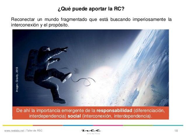 ¿Qué puede aportar la RC?  Imagen. Gravity, 2013  Reconectar un mundo fragmentado que está buscando imperiosamente la inte...