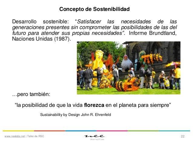 """Concepto de Sostenibilidad Desarrollo sostenible: """"Satisfacer las necesidades de las generaciones presentes sin compromete..."""