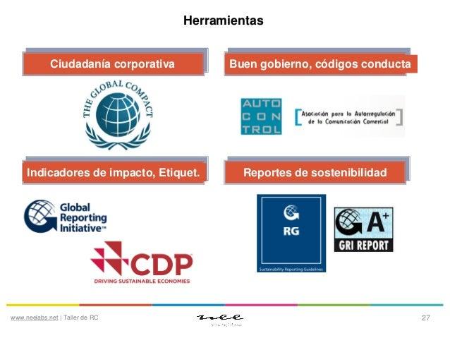 Herramientas  Ciudadanía corporativa  Indicadores de impacto, Etiquet.  www.neelabs.net | Taller de RC  Buen gobierno, cód...
