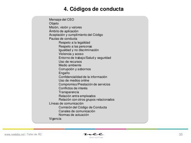 4. Códigos de conducta Mensaje del CEO Objeto Misión, visión y valores Ámbito de aplicación Aceptación y cumplimiento del ...