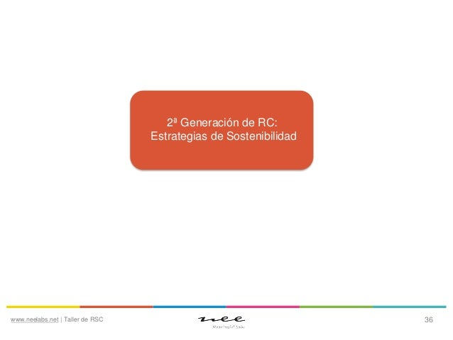 2ª Generación de RC: Estrategias de Sostenibilidad  www.neelabs.net | Taller de RSC  36