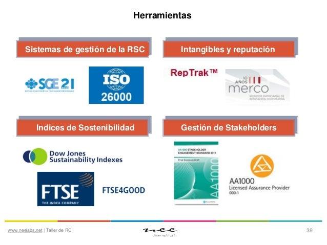 Herramientas  Sistemas de gestión de la RSC  Intangibles y reputación  Indices de Sostenibilidad  Gestión de Stakeholders ...