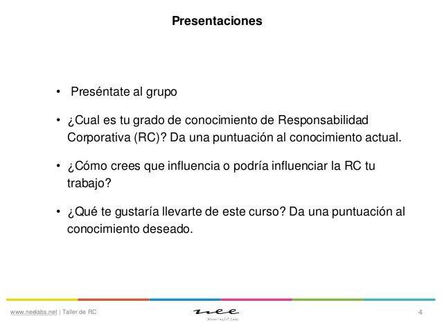 Presentaciones  • Preséntate al grupo • ¿Cual es tu grado de conocimiento de Responsabilidad Corporativa (RC)? Da una punt...