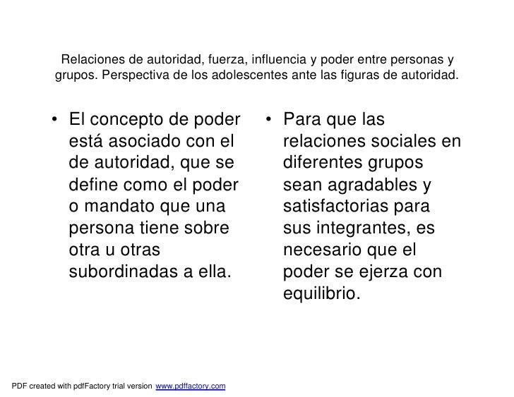 Relaciones de autoridad, fuerza, influencia y poder entre personas y            grupos. Perspectiva de los adolescentes an...