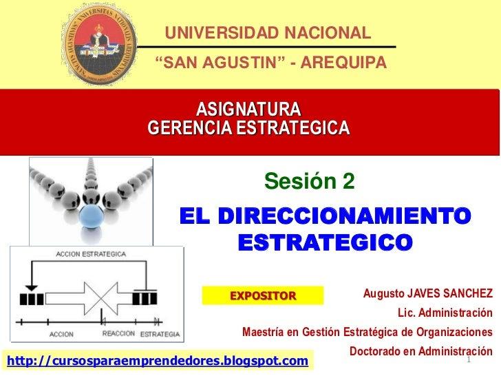 """UNIVERSIDAD NACIONAL                     """"SAN AGUSTIN"""" - AREQUIPA                        ASIGNATURA                    GER..."""
