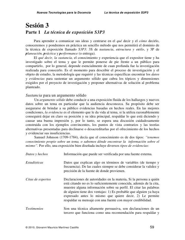 Nuevas Tecnologías para la Docencia              La técnica de exposición S3P3    Sesión 3 Parte 1 La técnica de exposició...