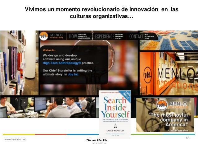 Vivimos un momento revolucionario de innovación en las culturas organizativas…  www.neelabs.net  18