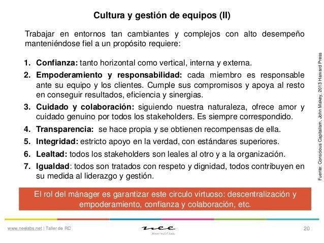 Cultura y gestión de equipos (II)  1. Confianza: tanto horizontal como vertical, interna y externa. 2. Empoderamiento y re...