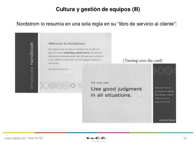 """Cultura y gestión de equipos (III) Nordstrom lo resumía en una sola regla en su """"libro de servicio al cliente"""":  www.neela..."""