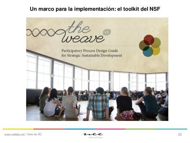 Un marco para la implementación: el toolkit del NSF  www.neelabs.net   Taller de RC  26