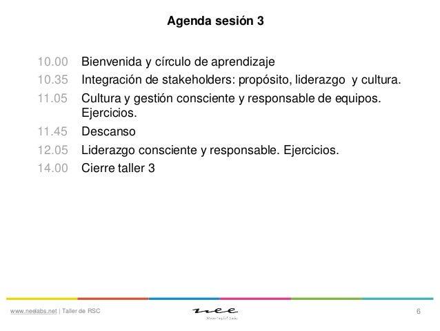 Agenda sesión 3 10.00 10.35 11.05 11.45 12.05 14.00  Bienvenida y círculo de aprendizaje Integración de stakeholders: prop...