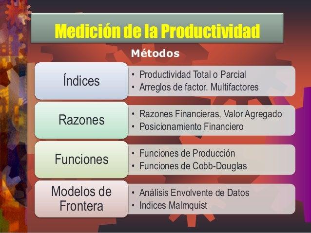 Métodos  •Productividad Total o Parcial  •Arreglos de factor. Multifactores  Índices  •Razones Financieras, Valor Agregado...
