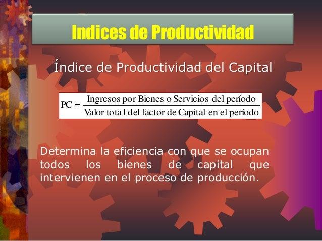 Índice de Productividad del Capital  Valor tota l del factor de Capital en el período  Ingresos por Bienes o Servicios del...
