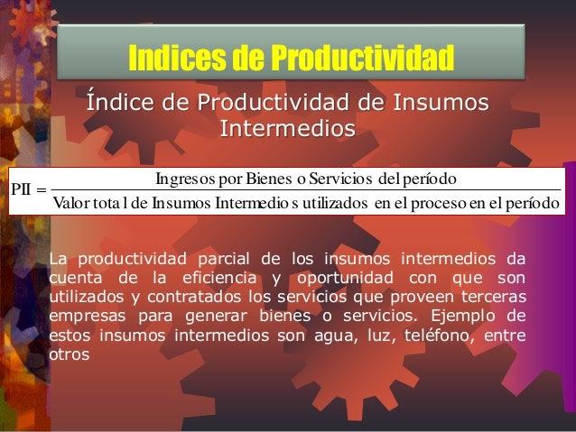 Índice de Productividad de Insumos  Intermedios  Valor tota l de Insumos Intermedio s utilizados en el proceso en el perío...