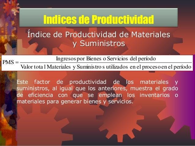 Índice de Productividad de Materiales  y Suministros  Valor tota l Materiales y Suministro s utilizados en el proceso en e...