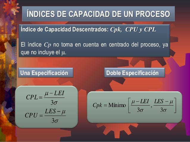 Índice de Capacidad Descentrados: Cpk, CPU y CPL  El índice Cp no toma en cuenta en centrado del proceso, ya  que no inclu...