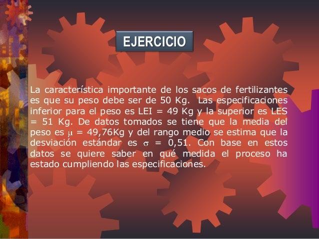EJERCICIO  La característica importante de los sacos de fertilizantes es que su peso debe ser de 50 Kg. Las especificacion...