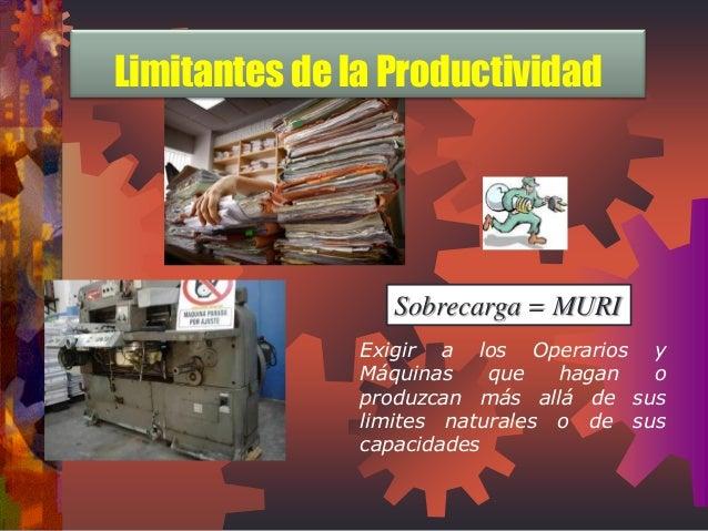 Sobrecarga = MURI  Exigir a los Operarios y Máquinas que hagan o produzcan más allá de sus limites naturales o de sus capa...