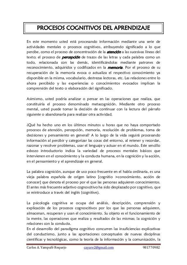 Carlos A. Yampufé Requejo cayare2@gmail.com 981770982  PROCESOS COGNITIVOS DEL APRENDIZAJE  En este momento usted está pro...