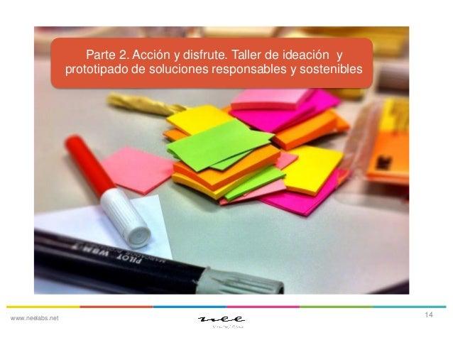 Parte 2. Acción y disfrute. Taller de ideación y prototipado de soluciones responsables y sostenibles  www.neelabs.net  14