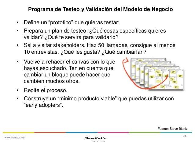 """Programa de Testeo y Validación del Modelo de Negocio • Define un """"prototipo"""" que quieras testar: • Prepara un plan de tes..."""